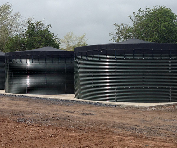 Corrugated water storage tanks