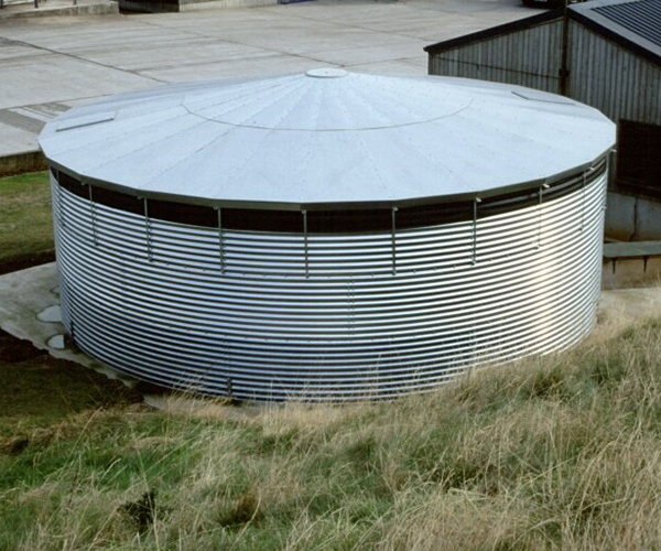 Large external water storage tank