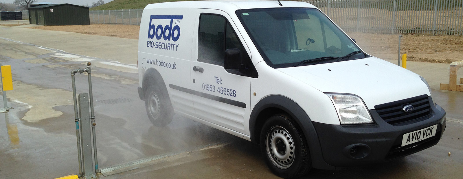 Bio security. Automated vehicle disinfectant spray system