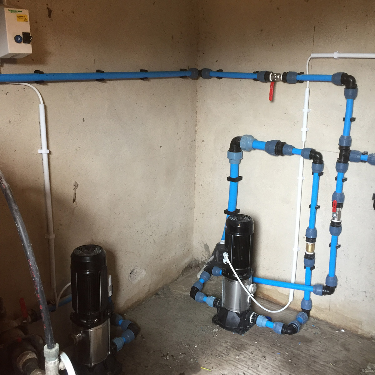 Pipework at booster pumps